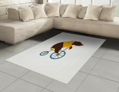 Bisikletli Ayı Desenli Halı (Kilim) Kahverengi Mavi