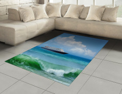 Deniz ve Gemi Desenli Halı (Kilim) Turkuaz Dalga Plaj