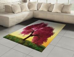 Dekoratif Ağaç Desenli Halı (Kilim) Sarı Fonlu Doğa