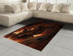 Kahverengi Ejderha Halı (Kilim) Fantastik Dekoratif