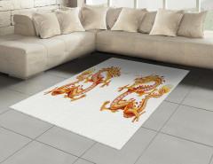 İkiz Ejderha Desenli Halı (Kilim) Uzak Doğu Sarı