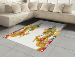 İkili Çin Ejderhaları Desenli Halı (Kilim) Uzak Doğu Efsanesi