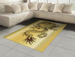 Altın Ejderha ve Güç Topu Halı (Kilim) Ejderha Fantastik Mitolojik