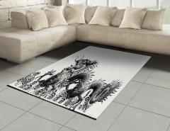 Siyah Beyaz Ejderha Halı (Kilim) Şık Tasarım