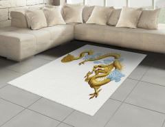 Sarı Ejderha Desenli Halı (Kilim) Şık Tasarım