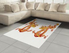 İkiz Ejderha Desenli Halı (Kilim) Turuncu Dekoratif
