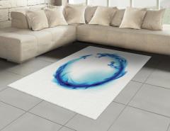 Mavi Ejderha Desenli Halı (Kilim) Beyaz Fonlu Şık