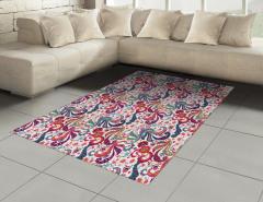 Şık Çiçek Motifli Halı (Kilim) Rengarenk Dekoratif