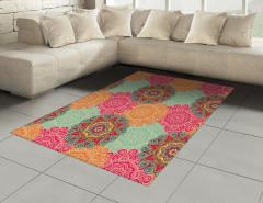 Renkli Mandala Desenli Halı (Kilim) Hint Süslemeleri