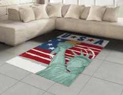Özgürlük Anıtı Desenli Halı (Kilim) ABD Bayrağı Şık