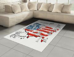 ABD Haritası Desenli Halı (Kilim) Kırmızı Mavi