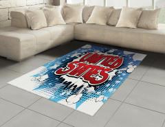 ABD Yazılı Grafiti Halı (Kilim) Kırmızı Mavi Sanat