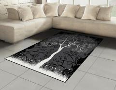 Sanatsal Ağaç Desenli Halı (Kilim) Ağaç İlkbahar Modern Sanatsal Siyah