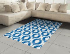 Modern Şık Desenli Halı (Kilim) Mavi Beyaz Modern Desenler Şık Tasarım
