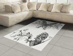 Zarif Kelebek Desenli Halı (Kilim) Şık Tasarım Siyah