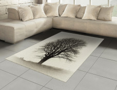 Yalnız Bir Ağaç Halı (Kilim) Doğada Sonbahar Gri