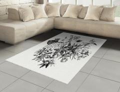 Siyah Beyaz Buket Halı (Kilim) Çiçek Dekoratif