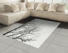 Yapraksız Ağaçlar Halı (Kilim) Kahverengi Beyaz