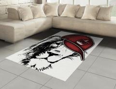 Kral Şapkalı Aslan Halı (Kilim) Siyah Kırmızı