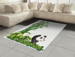Sevimli Panda ve Bambu Halı (Kilim) Sevimli Panda Bambu Ağacı
