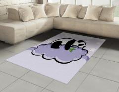 Bulut Üstündeki Panda Halı (Kilim) Bulut Üzerinde Panda Mor