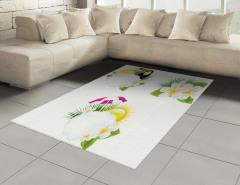 Tropik Çiçek ve Kuş Halı (Kilim) Beyaz Dekoratif