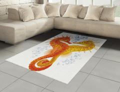 Turuncu Sarı Denizatı Halı (Kilim) Deniz Dekoratif