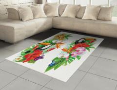 Egzotik Kuş ve Çiçekler Halı (Kilim) Rengarenk Şık
