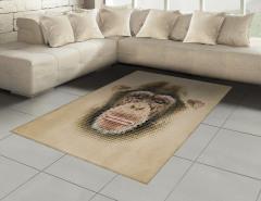 Maymun Yüzü Desenli Halı (Kilim) Bej Dekoratif