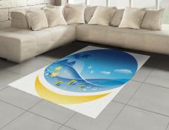Tropikal Ada Konulu Halı (Kilim) Okyanus Balık Mavi