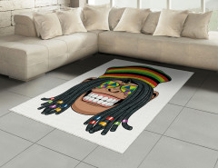 Hippi Maymun Desenli Halı (Kilim) Jamaika Komik