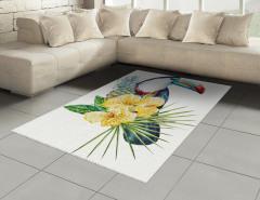 Şık Tropik Tasarımlı Halı (Kilim) Tropikal Simgeler Çiçek