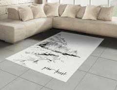 Dağ Evi Desenli Halı (Kilim) Dağ Evi Temalı Siyah