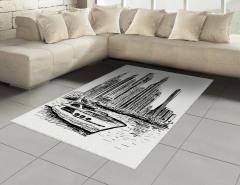 Modern Şehir Halı (Kilim) Gökdelenler Tekne