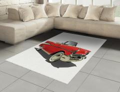 Kırmızı Şık Araba Halı (Kilim) Nostaljik Dekoratif
