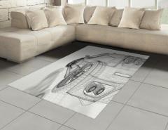 Gri Araba Desenli Halı (Kilim) Teknolojik Beyaz Fon