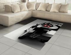 Gri Spor Araba Halı (Kilim) Beyaz Fon Dekoratif