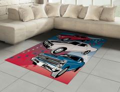 Rengarenk Arabalar Halı (Kilim) Kırmızı Beyaz Mavi