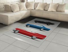 Rengarenk Araba Desenli Halı (Kilim) Gri Fonlu Şık