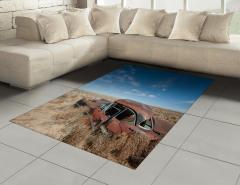 Terk Edilmiş Araba Halı (Kilim) Kahverengi Gökyüzü
