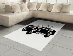 Klasik Araba Tutkusu Halı (Kilim) Siyah Klasik Araba Temalı