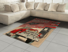 Nostaljik Poster Etkili Halı (Kilim) Retro Kırmızı