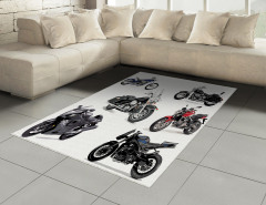 Gri Motosiklet Desenli Halı (Kilim) Beyaz Fon