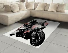 Motosiklet Yarışçısı Halı (Kilim) Siyah Dekoratif