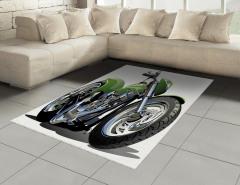 Yeşil Motosiklet Halı (Kilim) Beyaz Fon Dekoratif