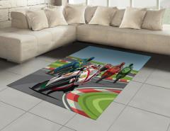 Motor Yarışı Desenli Halı (Kilim) Rengarenk Dekoratif