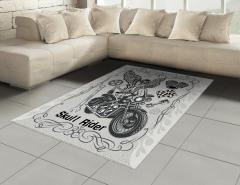 Motorcu Kuru Kafa Halı (Kilim) Gri Dekoratif