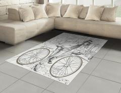 Bisikletli Kız Halı (Kilim) Siyah Beyaz Nostaljik