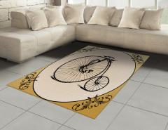 Nostaljik Bisiklet Halı (Kilim) Şık Tasarım Siyah