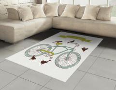 Bisiklet ve Kuşlar Halı (Kilim) Yeşil Dekoratif